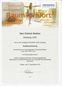 Siegenia Urkunde - Fortbildung zur Fensterabsicherung